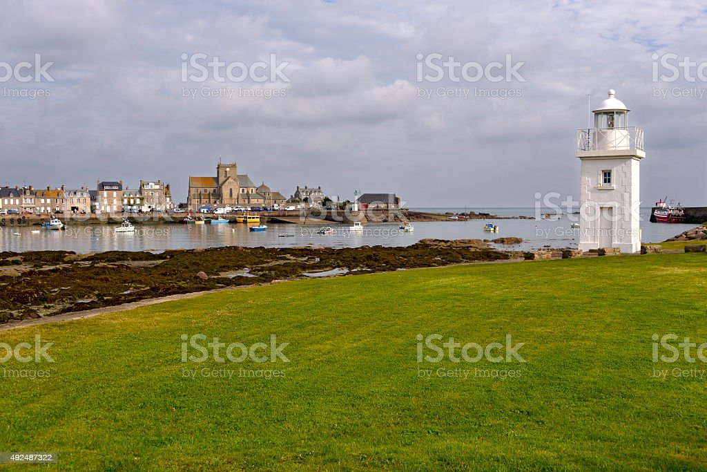 Lighthouse of Barfleur in France stock photo