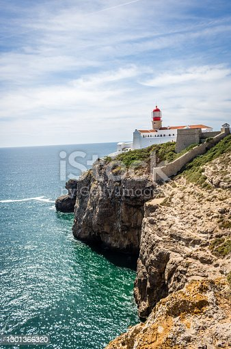 Lighthouse of Cabo de Sao Vicente the last point in Europe in Algarve Portugal