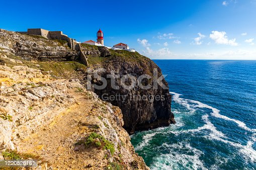 Lighthouse of Cabo Sao Vicente, Sagres, Portugal. Farol do Cabo Sao Vicente (built in october 1851) Cabo de Sao Vicente is the South Western tip of Europe, Sagres, Portugal.
