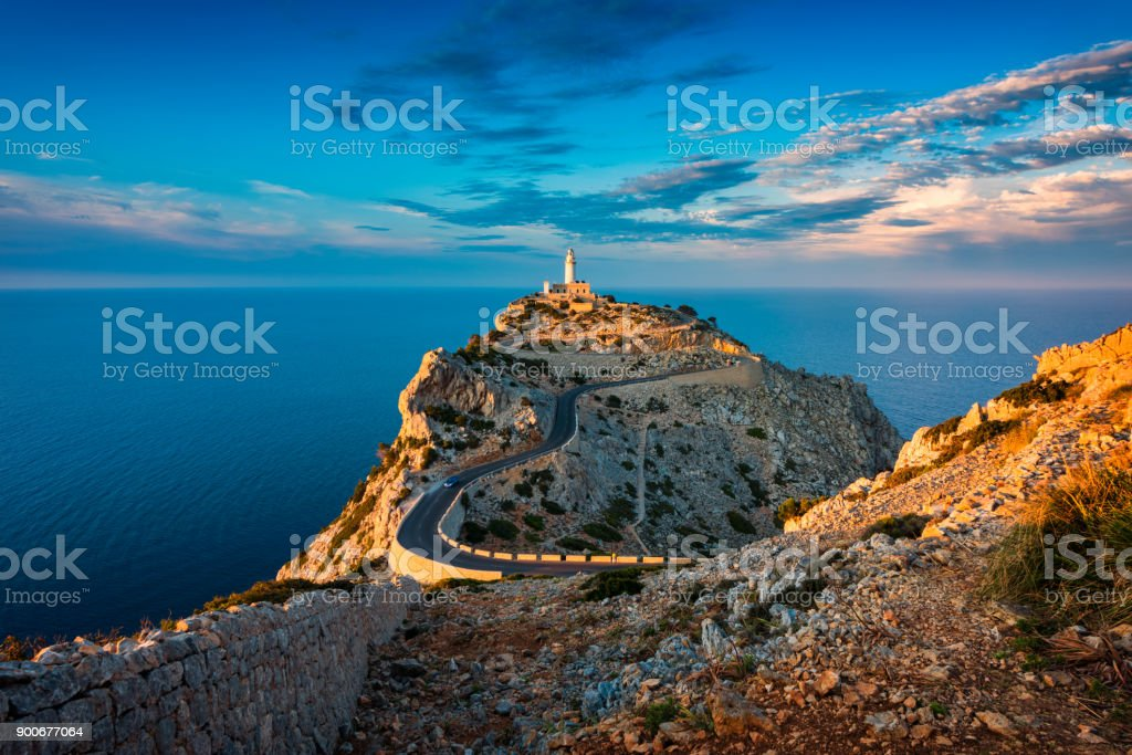 Lighthouse of Cap de Formentor Mallorca Spain around Sunset - foto stock