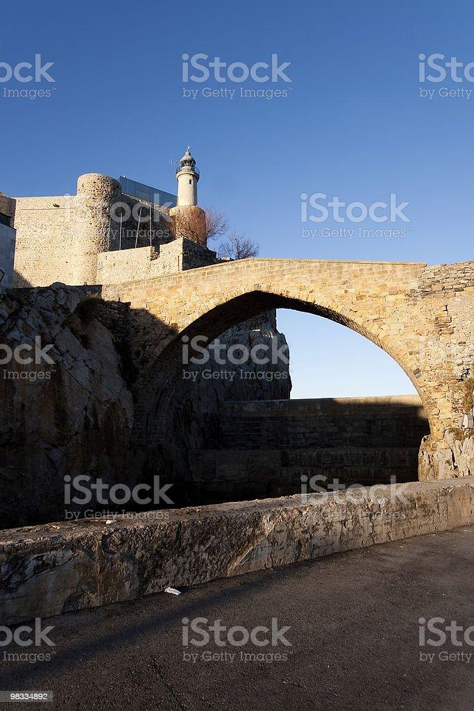 라이트하우스 of 캐스트로 Urdiales royalty-free 스톡 사진