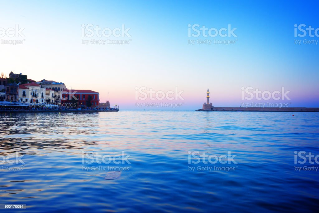 lighthouse of Chania at pink sunset, Crete royalty-free stock photo