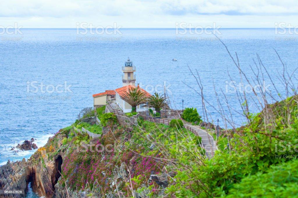 Lighthouse of Cudillero, Asturias,  Spain royalty-free stock photo