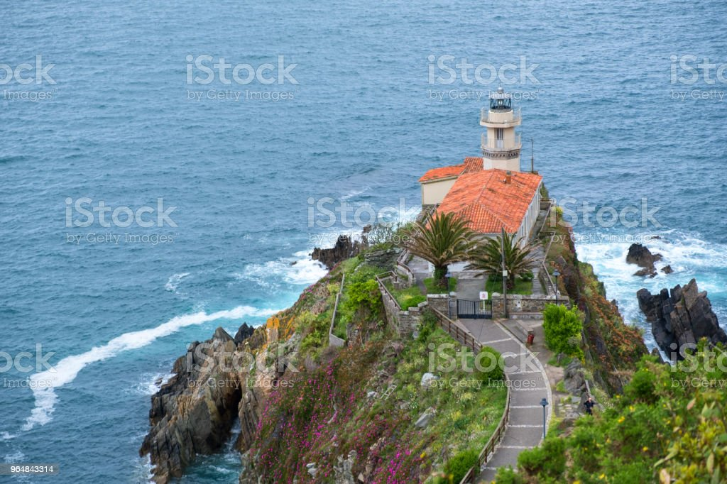 Lighthouse of Cudillero, Asturias,  Spain royalty-free stock photo