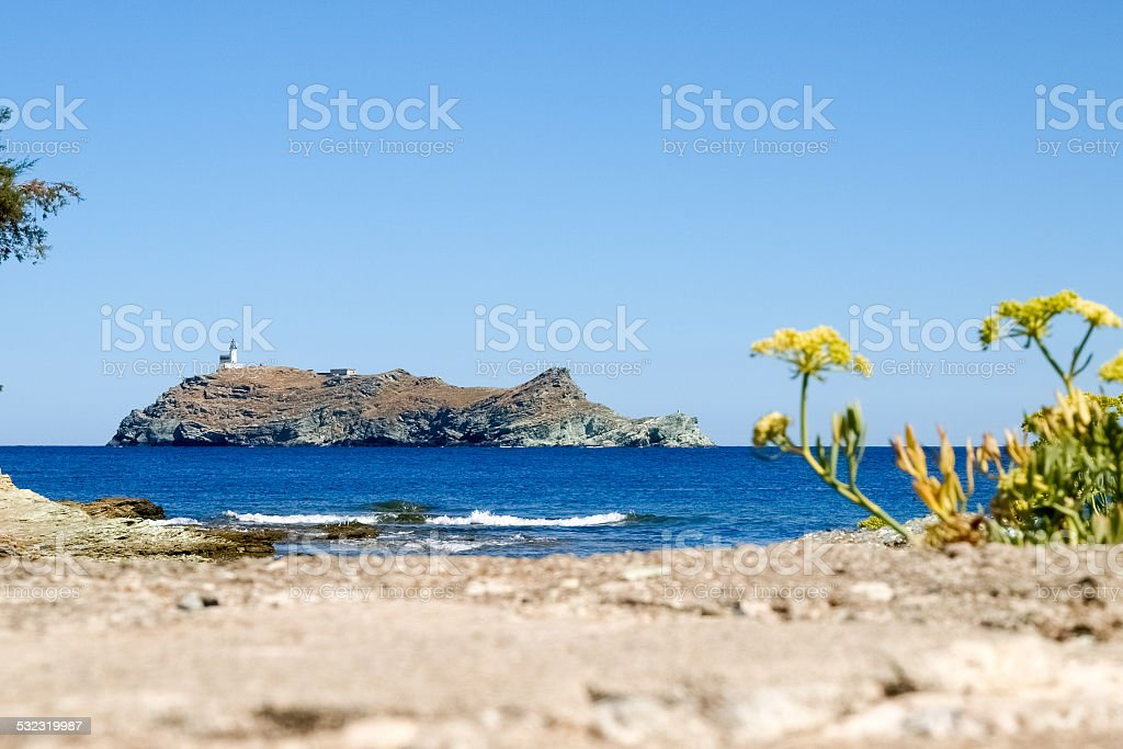 Lighthouse of isle Giraglia stock photo