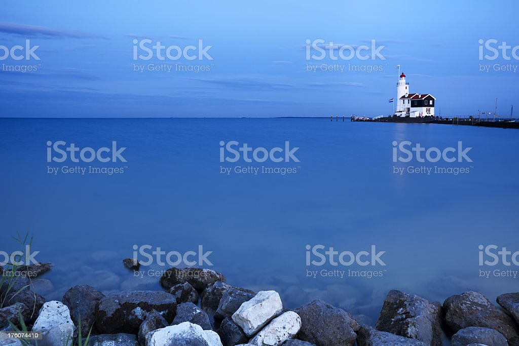 Lighthouse of Marken in The Netherlands at dusk royalty-free stock photo