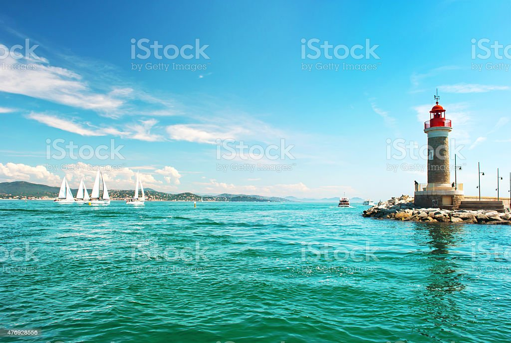 Lighthouse of St. Tropez. Mediterranean landscape. French riviera, France stock photo