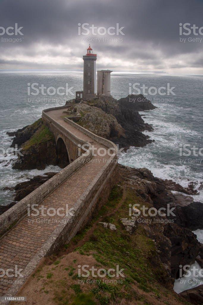 Phare du Petit Minou lighthouse bad weather vertical, Brittany, France