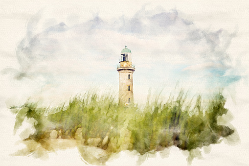 lighthouse of Warnemuende with sand dunes and grass in watercolors