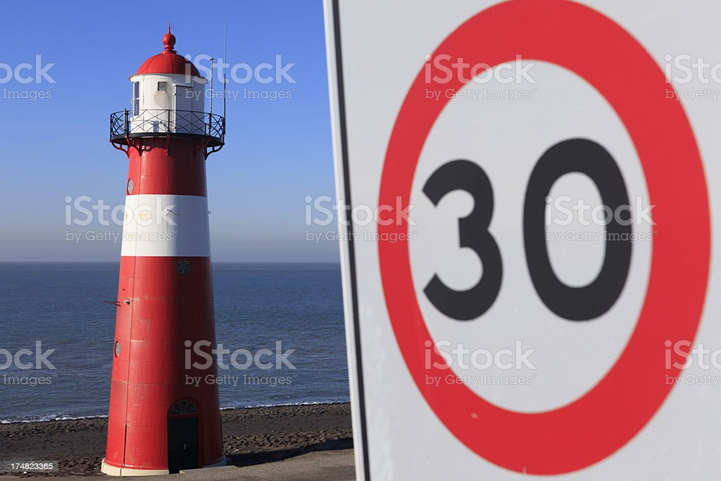 lighthouse of Westkapelle along the Dutch coast royalty-free stock photo