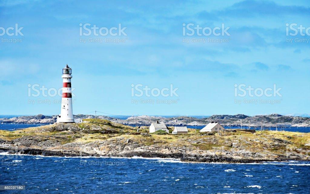 Lighthouse Oksøy fyr south of Kristiansand in Norway stock photo