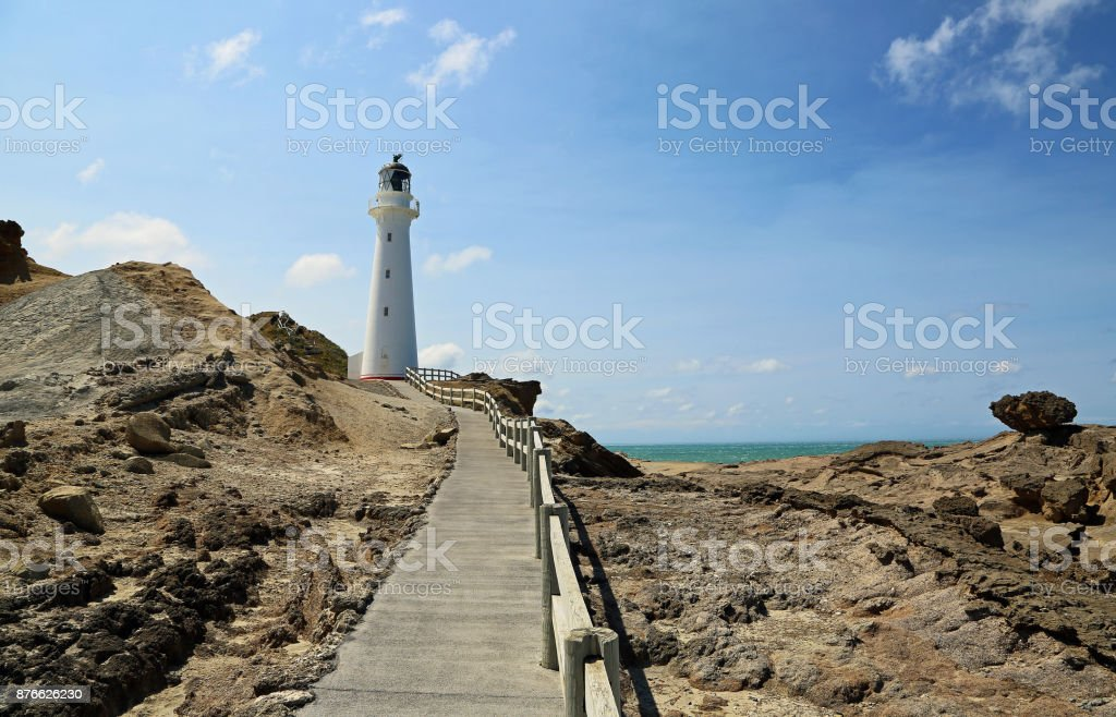 Lighthouse on a cliff stock photo