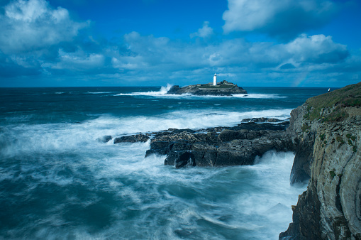 Lighthouse on a Windy Day in Cornwall