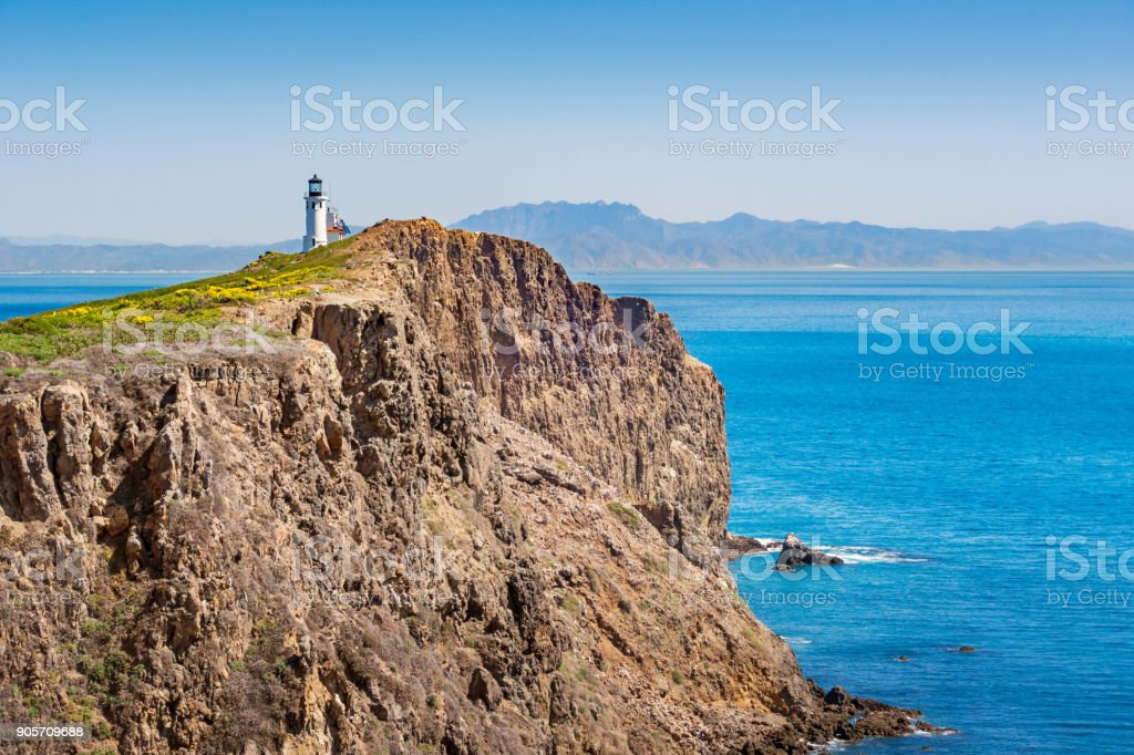 Lighthouse on Anacapa Island in Channel Islands National Park California stock photo