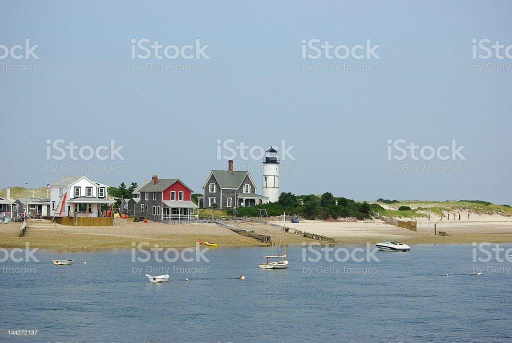 Lighthouse on Cape Cod bay, Massachusetts stock photo