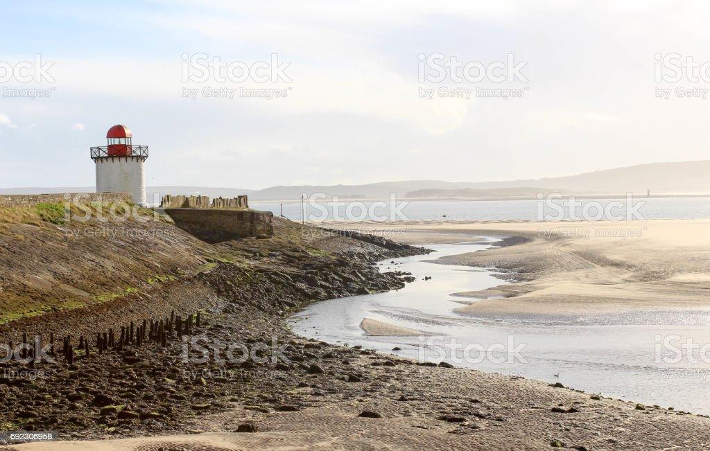 Lighthouse on edge of beach stock photo