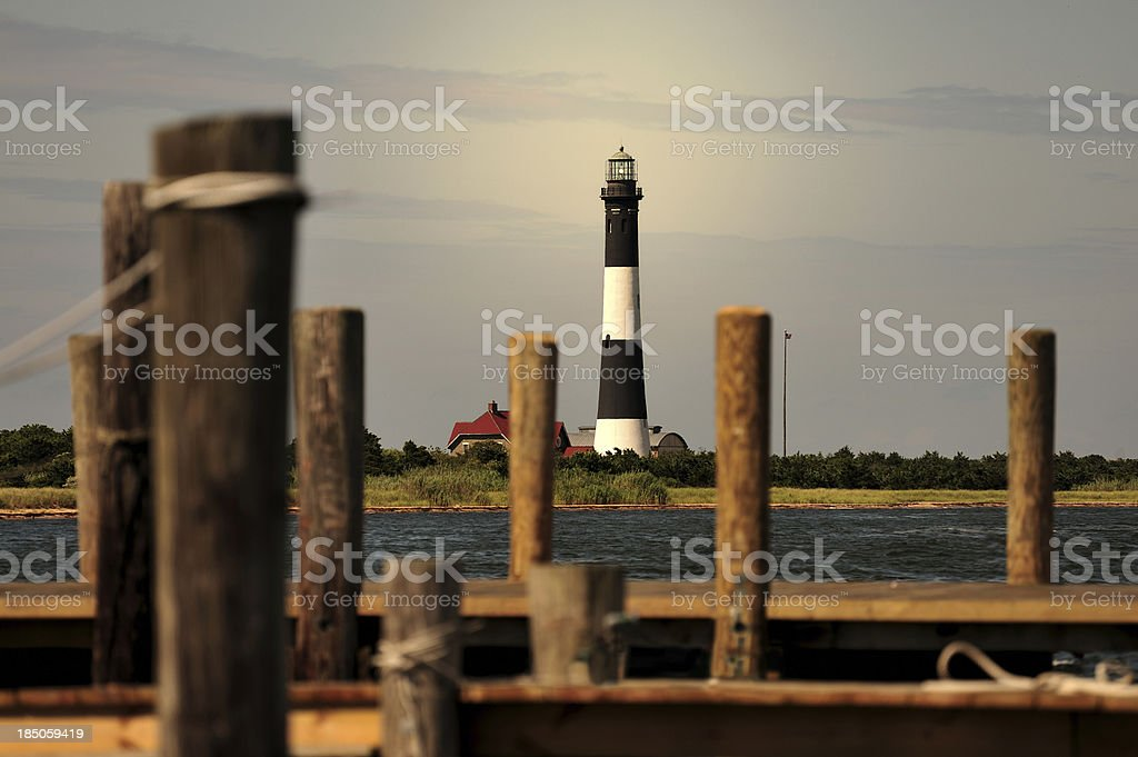 Lighthouse on Fire Island, New York, USA stock photo