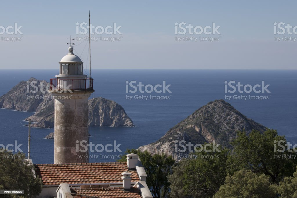 Lighthouse on Gelidonya cape in summer time foto stock royalty-free