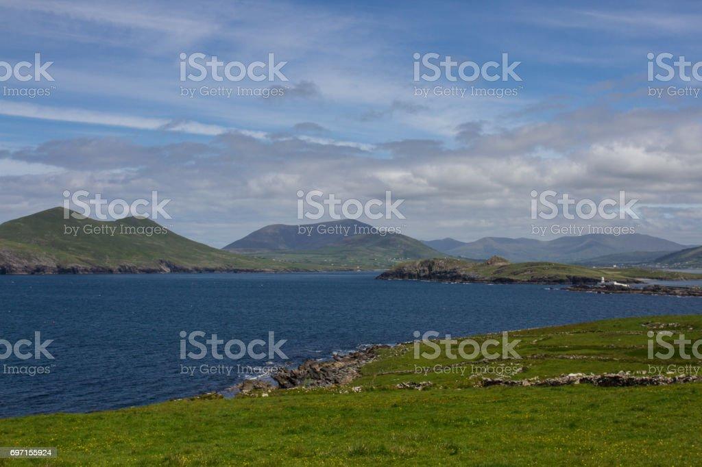 Lighthouse on Grassland stock photo
