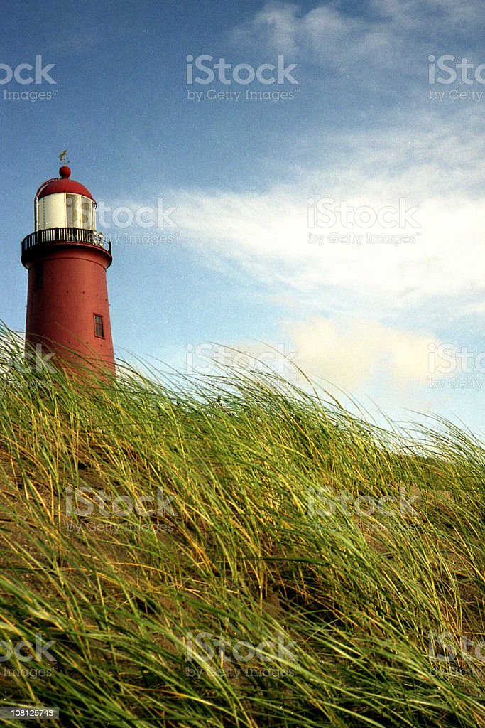 lighthouse on hill royalty-free stock photo