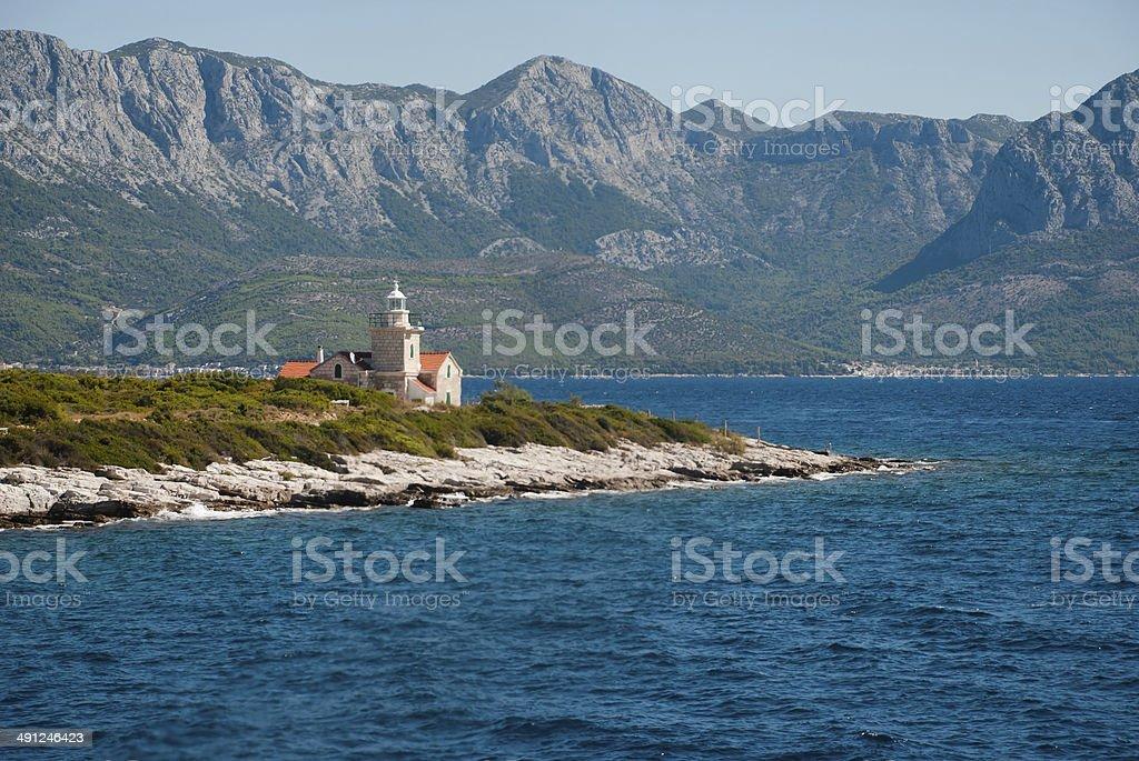 Lighthouse on Hvar Island stock photo