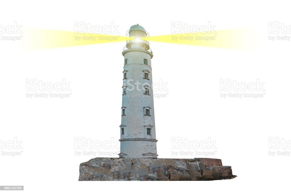 Lighthouse on island with dual searchlight beam royalty-free stock photo