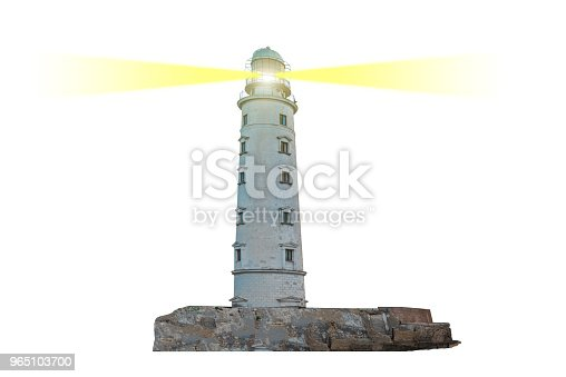 Lighthouse On Island With Dual Searchlight Beam Stock Photo & More Pictures of Ancient
