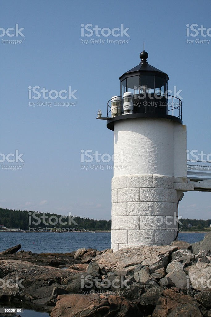 lighthouse on rocks royalty-free stock photo