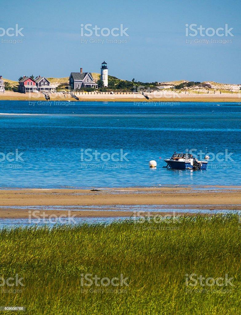 Lighthouse on Sandy Neck stock photo