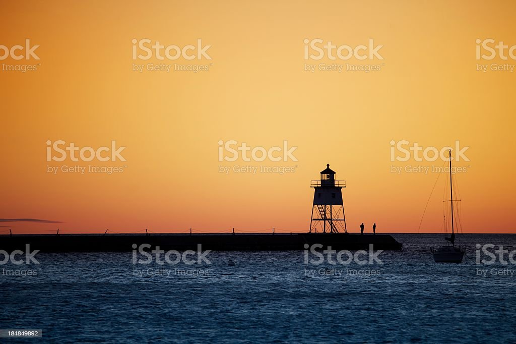 Lighthouse on sunset royalty-free stock photo