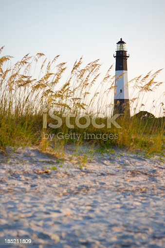 Tybee Island lighthouse viewed from the dunes on the beach.