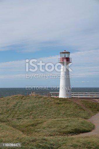 Iles de la Madeleine, Newfoundland, Canada, September 23, 2018. Lighthouse  on the coast