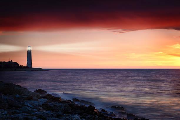 Lighthouse on the coast stock photo