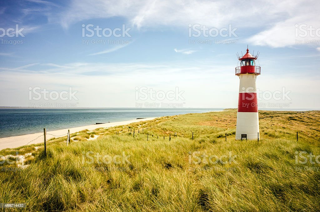 Lighthouse on the island Sylt / Germany stock photo