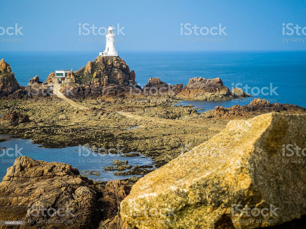 Lighthouse on the Jersey Island, Channel Islands stock photo