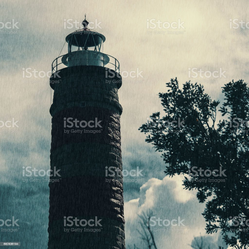 Lighthouse on the North part of Moreton Island. Abstract lighting. Lizenzfreies stock-foto