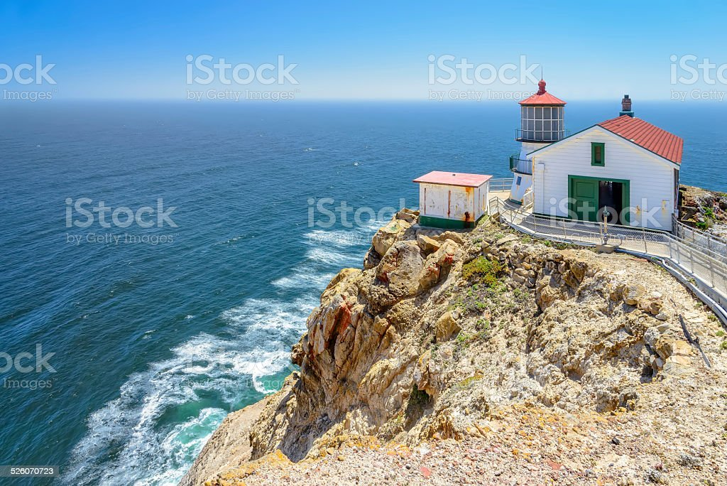 Lighthouse on the rock, Point Reyes Lighthouse. stock photo