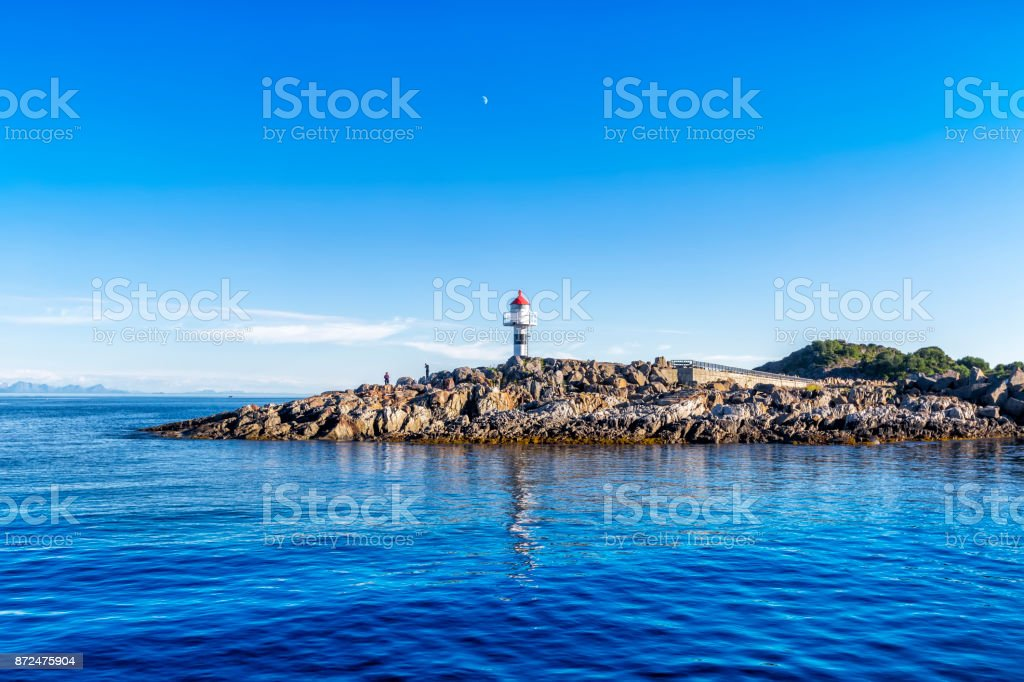 Lighthouse on the Trollfjord (Trollfjorden) in the Lofoten Islands stock photo
