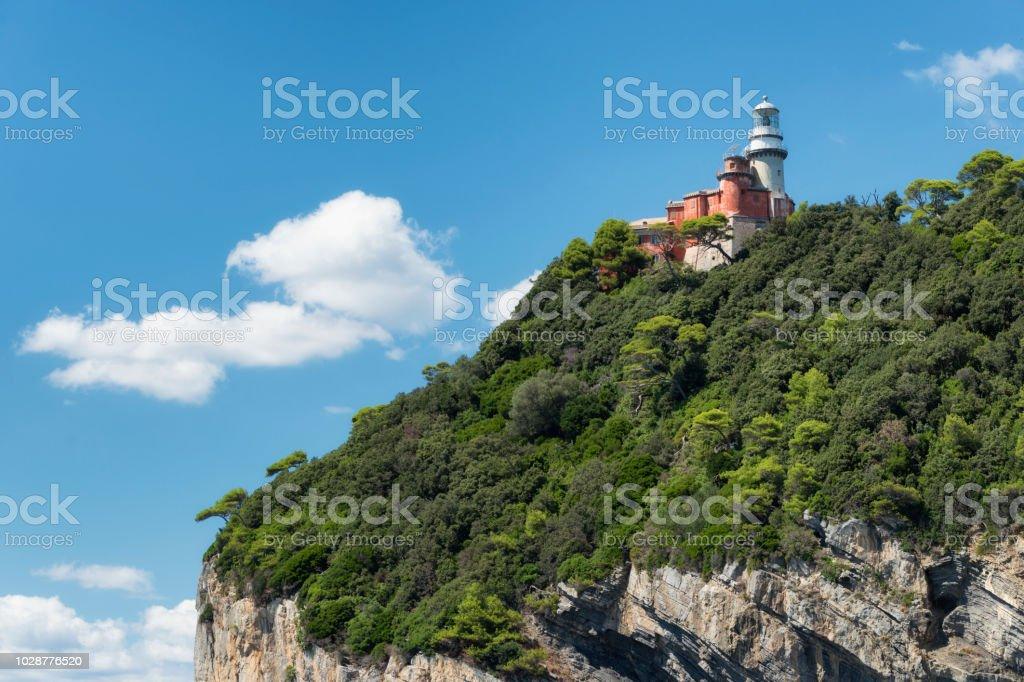 Leuchtturm auf der Insel Tino befindet sich im Golf von La Spezia in der Nähe von Portovenere und die Cinque Terre – Foto
