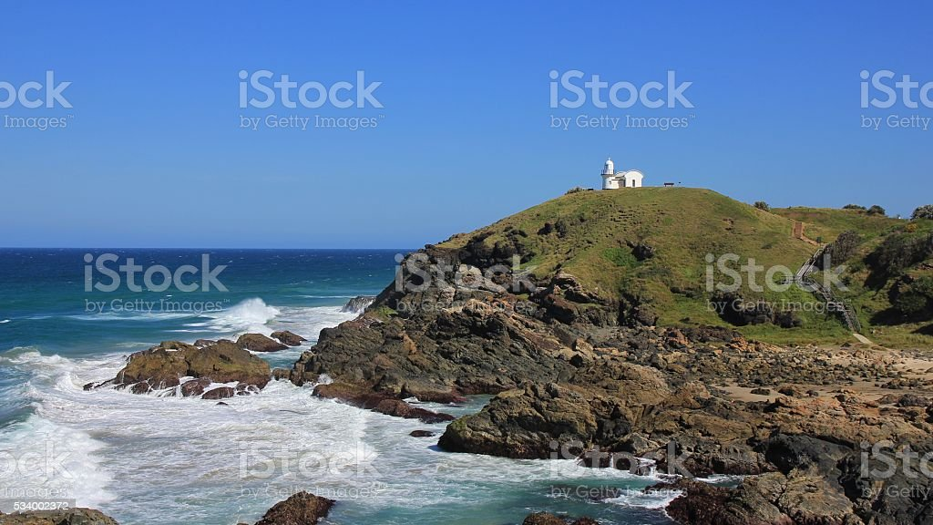 Lighthouse on top of a hill in Port Macquarie stock photo