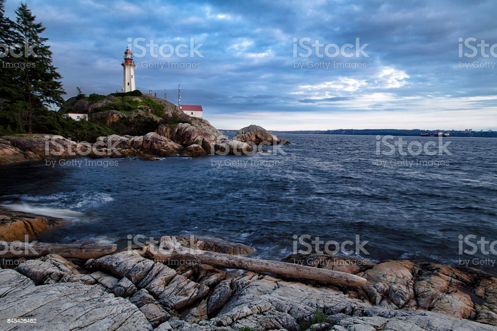 Lighthouse park at dusk in summer, West Vancouver, BC, Canada stock photo