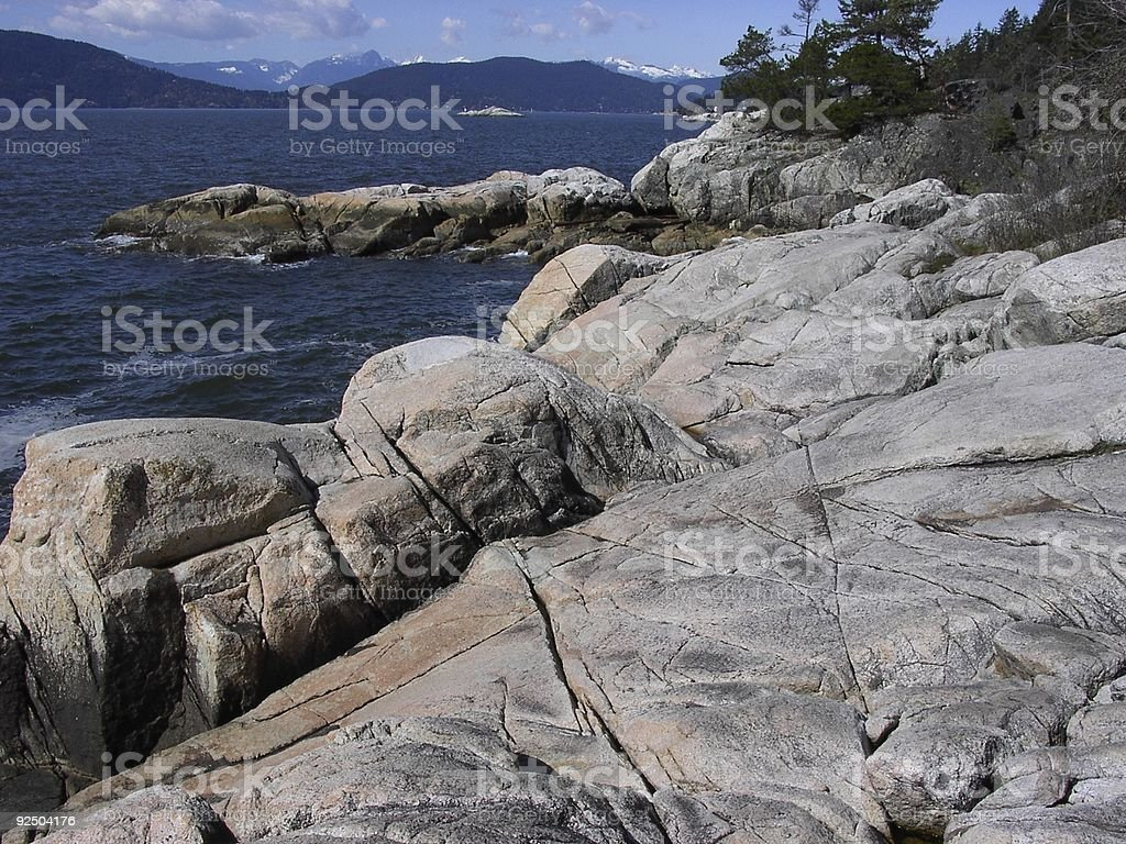 Lighthouse Park-Glacial Smoothed Rocks royalty-free stock photo
