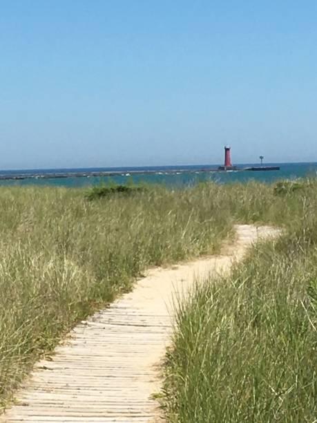 Lighthouse Path stock photo