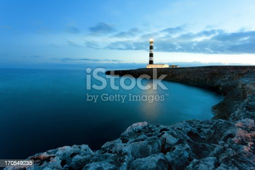 Mediterranean lighthouse in Menorca. Far de Artrutx. Minorca. Spain.