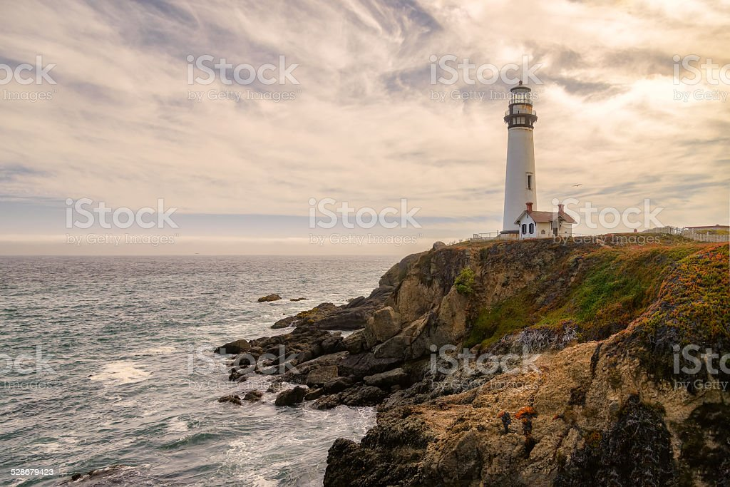 Lighthouse Pigeon Point, California stock photo