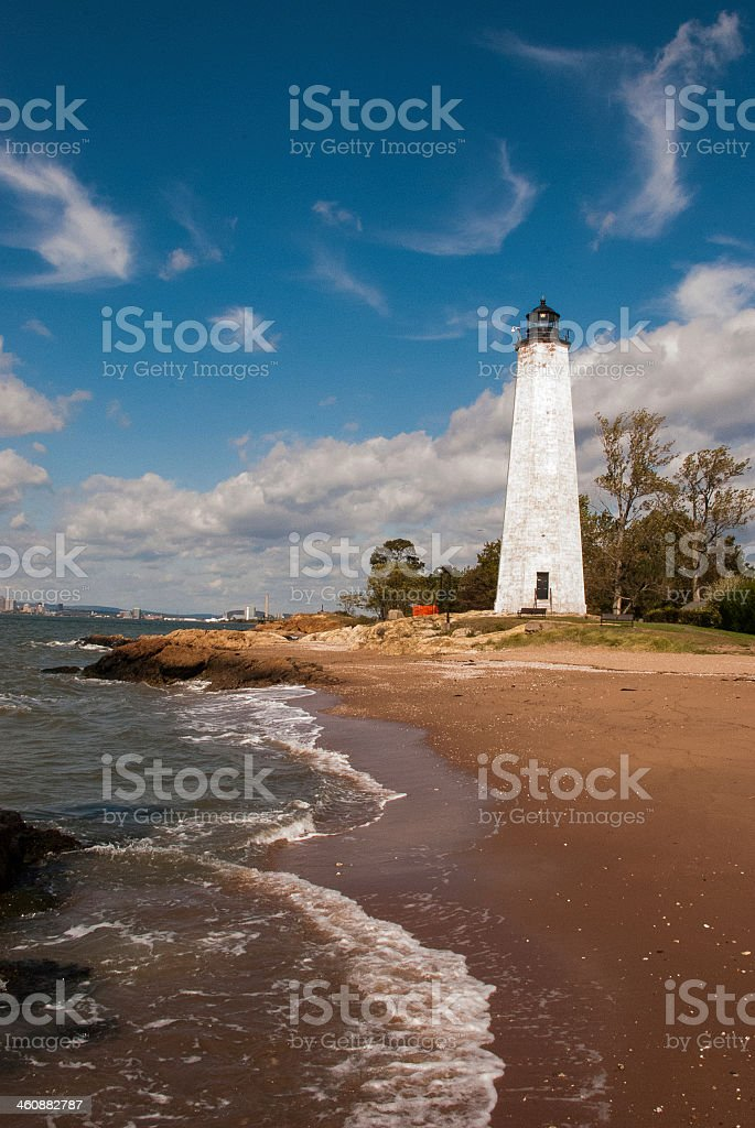 Lighthouse Point and New Haven Skyline Connecticut stock photo