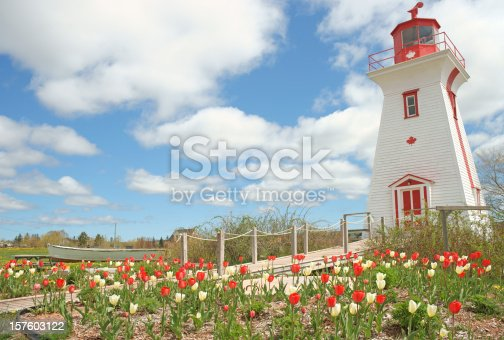 The lighthouse at Victoria by the sea, Prince Edward Island, Canada. Spring.