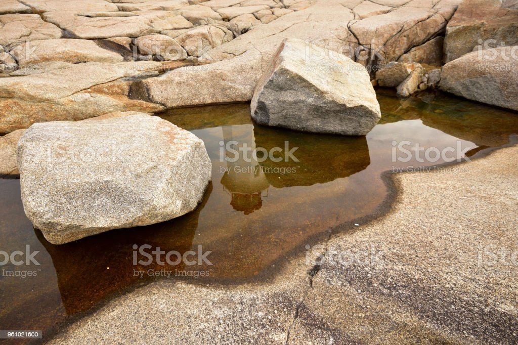 Lighthouse Reflection in Pool of Water Peggy's Cove Nova Scotia Canada - Royalty-free Architecture Stock Photo
