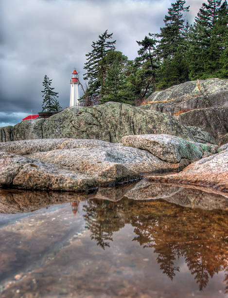 Lighthouse Reflection in Small Tidal Pool stock photo