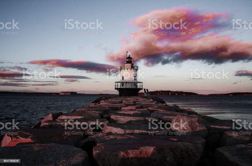 Lighthouse, Sunset, Clouds, Ocean stock photo